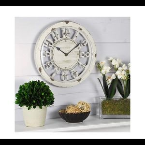 Rustic Wall Clock Chabby chic Big numerals white